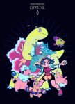 1girl blue_eyes blue_hair character_name copyright_name corsola crystal_(pokemon) electabuzz flaaffy gen_1_pokemon gen_2_pokemon great_ball highres holding holding_poke_ball mangoshake meganium natu poke_ball pokemon pokemon_(creature) pokemon_(game) pokemon_gsc seadra twintails