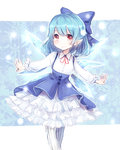 1girl adapted_costume blue_dress blue_hair bow cirno dress hair_bow highres ice ice_wings long_sleeves mochiko_(mocchikkoo) outstretched_arms pantyhose petticoat pointy_ears red_eyes shirt smile solo striped striped_legwear touhou vertical-striped_legwear vertical_stripes wings
