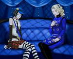 2girls bare_shoulders bell bell_choker black_hair blonde_hair blue_eyes cabbie_hat choker coat couch elbow_gloves gloves hairband hand_on_own_chest hat hshs long_hair margaret_(persona) marie_(persona_4) multiple_girls necktie pantyhose persona persona_4 persona_4_the_golden plaid plaid_skirt pleated_skirt short_hair sitting skirt sleeveless striped striped_legwear thighhighs yellow_eyes