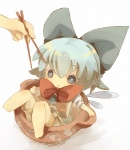 1girl :< bad_id bad_pixiv_id barefoot blue_eyes blue_hair bow chibi chopsticks cirno cup dress hair_bow in_container in_cup masirosu minigirl short_hair solo touhou wings