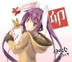 1girl 2011 animal animal_ears blush brown_eyes bunny bunny_ears chinese_zodiac cup hood hood_down hooded_jacket in_container in_cup jacket long_hair looking_back original purple_hair solo teacup twintails umino_tomo upper_body year_of_the_rabbit
