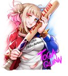 1girl absurdres bangs baseball_bat blonde_hair blood blunt_bangs blush boku_no_hero_academia bracelet breasts character_name coat commentary_request cosplay cropped_torso double_bun eyebrows_visible_through_hair fang half-closed_eyes harley_quinn harley_quinn_(cosplay) highres jewelry long_sleeves looking_at_viewer medium_breasts multicolored_hair open_clothes pink_hair shirt short_twintails smile solo spiked_bracelet spikes streaked_hair suicide_squad toga_himiko torn_clothes torn_shirt twintails white_shirt yandere yaobin_yang yellow_eyes
