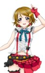 1girl artist_request bangs bare_shoulders belt blush bokura_wa_ima_no_naka_de bow breasts brown_hair checkered earrings fingerless_gloves frills gloves hair_ornament jewelry koizumi_hanayo looking_at_viewer love_live! love_live!_school_idol_festival love_live!_school_idol_festival_after_school_activity love_live!_school_idol_project navel nervous_smile official_art open_mouth parted_bangs plaid puffy_short_sleeves puffy_sleeves purple_eyes raised_eyebrows short_hair short_sleeves skirt smile solo star star_hair_ornament suspenders transparent_background