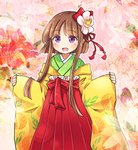 1girl alternate_costume bangs blunt_bangs blush brown_hair check_commentary commentary_request cosplay floral_print flower hair_flower hair_ornament hair_ribbon hakama_skirt hieda_no_akyuu hieda_no_akyuu_(cosplay) high-waist_skirt japanese_clothes kimono long_sleeves looking_at_viewer nishida_satono open_mouth pote_(ptkan) purple_eyes red_ribbon red_skirt ribbon short_hair_with_long_locks skirt sleeves_past_wrists smile solo standing touhou white_flower wide_sleeves yellow_kimono