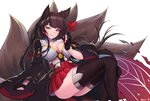 1girl akagi_(azur_lane) animal_ears ass azur_lane bangs black_gloves black_kimono black_legwear blunt_bangs breasts cleavage collarbone eyeliner fox_ears fox_girl fox_tail gloves hair_tubes hakama_skirt highres japanese_clothes kaiend kimono kitsune large_breasts long_hair makeup microskirt multiple_tails obi parted_lips partly_fingerless_gloves red_eyes red_skirt ribbon-trimmed_sleeves ribbon_trim sash shirt sitting skirt smile solo tail thighhighs underbust very_long_hair white_kimono white_shirt wide_sleeves