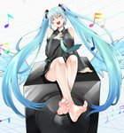 1girl amplifier aqua_hair bare_legs bare_shoulders barefoot breasts closed_eyes commentary eiji_(eiji) feet hatsune_miku long_hair medium_breasts miniskirt music musical_note necktie open_mouth singing sitting skirt soles solo toes twintails very_long_hair vocaloid wings zipper