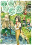1girl black_hair blonde_hair blue_eyes bodysuit breasts commentary_request deboo final_fantasy final_fantasy_ix garnet_til_alexandros_xvii gloves hat long_hair multiple_boys odin_(final_fantasy) orange_bodysuit tail traditional_media vivi_ornitier watercolor_(medium) zidane_tribal