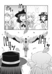 2girls bird bow bowtie comic dress dress_shirt greyscale hat hat_bow heron highres kannari long_sleeves maribel_hearn medium_hair mob_cap monochrome multiple_girls shirt short_hair smoke touhou transformation translated usami_renko wavy_hair
