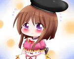 1girl arms_behind_back bow bowtie brown_hair chibi cowboy_shot eyebrows_visible_through_hair flying_sweatdrops gradient gradient_background hat head_tilt looking_at_viewer nishida_satono pink_shirt polka_dot polka_dot_background puffy_short_sleeves puffy_sleeves purple_eyes red_neckwear shirt short_hair short_sleeves sidelocks skirt smile solo standing tate_eboshi touhou white_skirt yairenko