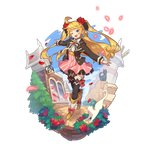 alternate_costume black_cat blonde_hair blue_eyes blue_sky bow bowtie cat dragalia_lost earrings ezelith fang flower jewelry non-web_source official_art one_eye_closed petals rose rose_petals saitou_naoki sky thighhighs white_cat zettai_ryouiki
