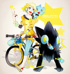 1boy bangle bicycle blonde_hair blue_eyes bracelet electricity flats happy jewelry luxray mollo off_shoulder pixiv_trainer poke_ball pokemon pokemon_(game) pokemon_dppt shinx shorts smile sweater