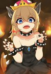 1girl armlet bangs bare_shoulders black_dress black_nails blonde_hair blue_eyes bowsette bracelet breathing_fire child claw_pose collar collarbone commentary_request cowboy_shot crown dress evil_smile eyebrows_visible_through_hair fangs fingernails fire flame flat_chest gem hair_between_eyes hands_up horns jewelry leaning_forward lizard_tail long_fingernails looking_at_viewer mario_(series) medium_hair nail_polish new_super_mario_bros._u_deluxe open_mouth paw_pose ponytail sapphire_(stone) shaded_face sidelocks sleeveless sleeveless_dress smile solo spiked_armlet spiked_bracelet spiked_collar spiked_tail spikes strapless strapless_dress super_crown tahita1874 tail teeth thick_eyebrows upper_teeth v-shaped_eyebrows younger
