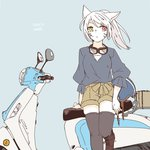1girl :< animal_ears artist_name bangs black_legwear blue_background cat_ears closed_mouth contemporary facial_mark final_fantasy final_fantasy_xiv flat_color goggles goggles_around_neck ground_vehicle headwear_removed helmet helmet_removed heterochromia lili_mdoki long_hair looking_to_the_side miqo'te motor_vehicle ponytail scooter shorts signature sitting solo thighhighs white_hair