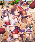 5girls basket bean_bag black_hair blue_eyes blue_hair breasts brown_hair buruma clothes_writing company_name copyright_name day esukee flower from_side green_eyes green_hair gym_uniform hair_flower hair_ornament hairband kneehighs lace lace-trimmed_legwear leg_up long_hair looking_at_viewer medium_breasts midriff multiple_girls official_art one_knee outdoors outstretched_arm ponytail red_buruma sengoku_saga shirt shirt_basket short_hair short_sleeves smile solo_focus sports_festival standing string_of_flags thighhighs throwing twintails white_legwear white_shirt