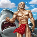 1boy abs aqua_eyes beard clenched_hand cloud dated facial_hair fundoshi grey_hair looking_at_viewer male manly matataku muscle old_man original raised_eyebrow shark shirtless signature sky solo wet