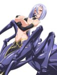 1girl arachne bangs bare_shoulders blush breast_hold breasts carapace chikuishi cleavage covered_nipples detached_sleeves extra_eyes grin groin hair_between_eyes hand_on_own_cheek hand_on_own_face insect_girl large_breasts midriff monster_girl monster_musume_no_iru_nichijou multiple_legs navel pelvic_curtain purple_hair rachnera_arachnera red_eyes sharp_teeth shiny shiny_skin short_hair sideboob simple_background skindentation smile solid_eyes solo spider_girl underboob white_background