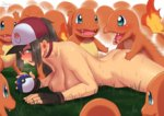 1girl ass_grab baseball_cap bestiality blue_eyes blush breasts brown_hair charmander female_protagonist_(pokemon_go) fingerless_gloves gloves hat large_breasts long_hair lying on_stomach open_mouth poke_ball pokemon pokemon_(creature) pokemon_go ponytail sweat zheng