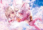 1girl :d albino armpits boots cherry_blossoms cravat fate/kaleid_liner_prisma_illya fate_(series) geko gloves illyasviel_von_einzbern long_hair looking_at_viewer magical_girl open_mouth outstretched_arms pink_footwear pink_theme prisma_illya red_eyes skirt smile solo spread_arms thigh_boots thighhighs thighlet white_gloves white_hair white_skirt yellow_neckwear