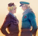 2boys america_(hetalia) arms_behind_back axis_powers_hetalia bad_id bad_pixiv_id blonde_hair blue_eyes bomber_jacket dashi_(minzoku_gb) double-breasted eye_contact gradient gradient_background hat jacket looking_at_another male_focus military military_uniform multiple_boys peaked_cap purple_eyes rivalry russia russia_(hetalia) scarf sunset uniform upper_body