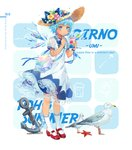 1girl 2018 alternate_costume anchor animal bag bird blue_bow blue_eyes blue_hair blue_nails blue_neckwear blue_ribbon blue_wings blush bow character_name cirno commentary contemporary dress ekita_xuan english english_commentary eyebrows_visible_through_hair flower food full_body hair_flower hair_ornament handbag hat hat_bow highres holding holding_food ice ice_wings kneehighs leaf mary_janes nail_polish neck_ribbon petticoat pink_flower puffy_short_sleeves puffy_sleeves red_footwear ribbon rope seagull see-through shaved_ice shell shoes short_hair short_sleeves solo standing starfish sun_hat tan tanned_cirno touhou translation_request white_background white_dress white_legwear wing_collar wings wrist_ribbon yellow_flower