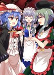 3girls :d ^_^ apron ascot black_coat black_hat blue_dress blue_hair blush bow brooch closed_eyes coat commentary_request dress e.o. eyebrows_visible_through_hair facing_another fang feet_out_of_frame frilled_apron frilled_dress frills green_bow green_dress green_hair green_neckwear green_ribbon hair_bow hand_up hat highres indoors izayoi_sakuya jewelry long_sleeves looking_at_another maid maid_apron maid_headdress multiple_girls neck_ribbon open_mouth puffy_short_sleeves puffy_sleeves red_eyes red_neckwear remilia_scarlet ribbon short_hair short_hair_with_long_locks short_sleeves silver_hair smile standing teireida_mai touhou waist_apron white_apron white_dress wide_sleeves wing_collar yellow_bow