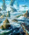 above_clouds aircraft airship artist_name blue_sky building cloud cloudy_sky commentary_request day fantasy forest giant_tree hasumi_yuuki highres mountain nature no_humans original outdoors river roots scenery science_fiction signature sky