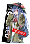 1girl backpack bag bangs black_headwear blue_hair blue_skirt blush bow bowtie coat commentary_request cowboy_shot eyebrows_visible_through_hair food fruit grey_coat hair_between_eyes hands_up hat highres hinanawi_tenshi leaf long_hair long_sleeves looking_at_viewer open_clothes open_coat open_mouth peach red_bow red_eyes red_neckwear shirt sidelocks simple_background skirt smile solo supreme tetsurou_(fe+) touhou very_long_hair white_background white_shirt wing_collar zipper