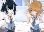2girls alternate_costume animal_ears black_hair blue_eyes brown_eyes brown_hair collared_shirt commentary_request cowboy_shot dnsdltkfkd ear_down eyebrows_visible_through_hair fang fur_collar grey_hair grey_wolf_(kemono_friends) highres italian_wolf_(kemono_friends) kemono_friends long_hair loose_necktie multicolored_hair multiple_girls necktie one_eye_closed plaid plaid_neckwear pleated_skirt reaching_out self_shot shirt short_sleeves skirt tail thighhighs waving white_hair wolf_ears wolf_tail
