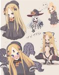 1girl abigail_williams_(fate/grand_order) absurdres animal_ears balloon bandaid_on_forehead bangs bare_shoulders belt black_bow black_dress black_gloves black_jacket black_legwear black_leotard blonde_hair blue_eyes blush bow cat_ears cat_tail center_opening closed_mouth commentary_request cosplay crossed_bandaids dress fate/grand_order fate/kaleid_liner_prisma_illya fate_(series) forehead full-face_blush fur_collar fur_trim gloves gyaito hair_bow hair_bun hat heroic_spirit_traveling_outfit high_collar highres illyasviel_von_einzbern illyasviel_von_einzbern_(cosplay) jacket key keyhole leotard long_hair long_sleeves looking_at_viewer multiple_views navel open_mouth orange_bow parted_bangs red_eyes simple_background sleeves_past_fingers sleeves_past_wrists smile squatting staff tail tentacles thighhighs thighs white_hair witch_hat