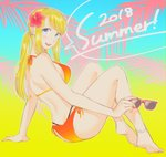 1girl 2018 anklet arm_support ass back bangs bare_arms bare_back bare_legs bare_shoulders barefoot bikini black_panties blonde_hair blue_eyes blush bracelet breasts dated earrings english_text eyebrows_visible_through_hair eyewear_removed fingernails flower full_body fullmetal_alchemist hair_flower hair_ornament happy hibiscus highres holding holding_eyewear jewelry long_hair looking_at_viewer medium_breasts orange_bikini ozaki_(tsukiko3) panties pink_flower ponytail red_nails sideboob sitting smile solo speech_bubble sunglasses swimsuit text_focus tongue underwear upper_teeth winry_rockbell