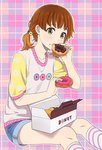 1girl bangs black_eyes brown_hair collarbone denim denim_shorts doughnut doughnut_hair_ornament eating food food_on_face food_themed_hair_ornament grey_eyes hair_ornament kneehighs looking_at_viewer mattaku_mousuke open_mouth orange_hair original pastry_box plaid plaid_background shirt short_sleeves shorts sitting solo striped striped_legwear twintails