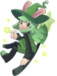 1girl bangs blunt_bangs broom broom_riding bunny cucumber_quest dress green_dress green_eyes green_hair hat long_sleeves looking_at_viewer mary_cagle peridot_(cucumber_quest) pinafore_dress smile star transparent_background witch_hat