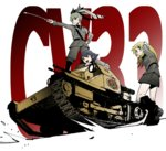 3girls anchovy anzio_(emblem) anzio_military_uniform bangs belt black_boots black_hair black_necktie black_ribbon black_shirt blonde_hair boots braid brown_eyes carpaccio carro_veloce_cv-33 closed_mouth dress_shirt drill_hair driving emblem girls_und_panzer green_eyes green_hair grey_jacket grey_pants grey_skirt grin ground_vehicle hair_ribbon hand_on_hip jacket knee_boots kome_(kakalow) long_hair long_sleeves military military_uniform military_vehicle miniskirt motor_vehicle multiple_girls necktie open_mouth pants pencil_skirt pepperoni_(girls_und_panzer) pointing red_eyes ribbon riding_crop shirt short_hair shoulder_belt side_braid skirt smile standing tank twin_drills twintails uniform wind