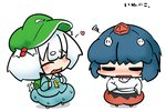 2girls animal_ears bad_id bad_pixiv_id black_eyes blush chibi cosplay costume_switch hat heart inubashiri_momiji inubashiri_momiji_(cosplay) inunoko. kawashiro_nitori kawashiro_nitori_(cosplay) multiple_girls o_o open_mouth short_hair skirt tail tail_wagging touhou white_hair wolf_ears