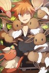 1boy :d black_shirt brown_eyes brown_pants eevee flareon from_above gen_1_pokemon hair_between_eyes heiwa_(murasiho) jewelry lying necklace odd_one_out on_back ookido_shigeru open_mouth orange_hair pants pidgeot pidgey pokemon pokemon_(creature) pokemon_(game) pokemon_hgss shirt smile spiked_hair