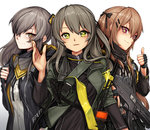 3girls brown_eyes brown_hair fingerless_gloves girls_frontline gloves green_eyes grey_hair gun h&k_ump hair_between_eyes hair_ornament hairclip heckler_&_koch highres holding_strap jacket long_hair looking_at_viewer multiple_girls one_side_up parted_lips randle scar scar_across_eye siblings sisters smile star star-shaped_pupils strap submachine_gun symbol-shaped_pupils thumbs_up trigger_discipline twintails ump40_(girls_frontline) ump45_(girls_frontline) ump9_(girls_frontline) upper_body walkie-talkie waving weapon white_background