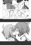 3girls blush bow cirno comic confession detached_sleeves doujinshi greyscale hair_bow hakurei_reimu highres hospital is_that_so kamonari_ahiru kiss monochrome multiple_girls rumia tears touhou translated yuri