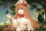 1girl arm_up blonde_hair blue_eyes blue_sky blurry bow bowtie butterfly_on_hand capelet cloud day depth_of_field dress dutch_angle ekaapetto fairy_wings flower grass hair_between_eyes hat hat_bow highres light_particles lily_white long_hair long_sleeves looking_to_the_side open_mouth outdoors red_neckwear sky solo swallowtail_butterfly touhou tree upper_body very_long_hair white_capelet white_dress white_headwear wide_sleeves wings