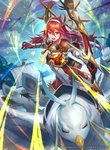 1girl armor arrow bangs bird blue_sky bow_(weapon) breastplate commentary company_connection copyright_name elbow_gloves feathers fire_emblem fire_emblem_cipher fire_emblem_if gloves hair_ornament hmk84 holding holding_bow_(weapon) holding_weapon japanese_clothes long_hair looking_at_viewer matoi_(fire_emblem_if) official_art open_mouth outdoors pegasus_knight quiver red_eyes red_hair ship sky solo watercraft weapon wings