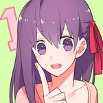 1 1girl countdown fate/stay_night fate_(series) green_background gum_(gmng) hair_ribbon index_finger_raised long_hair lowres matou_sakura open_mouth purple_eyes purple_hair ribbon solo