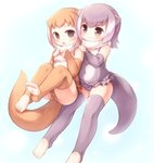 2girls animal_ears bangs bare_shoulders barefoot blue_background blush brown_hair brown_legwear brown_swimsuit cameltoe commentary_request elbow_gloves eyebrows_visible_through_hair eyelashes frilled_swimsuit frills fur_collar gloves grey_hair grey_legwear grey_swimsuit hands_on_another's_shoulders hollow_eyes japanese_otter_(kemono_friends) kemono_friends light_smile matsuu_(akiomoi) medium_hair multicolored_hair multiple_girls navel one-piece_swimsuit open_mouth otter_ears otter_tail small-clawed_otter_(kemono_friends) swimsuit tail tareme thighhighs toeless_legwear white_hair zettai_ryouiki