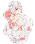 ae-3803 baseball_cap black_eyes blush_stickers closed_eyes collared_shirt cradling erythroblast_(hataraku_saibou) hair_over_one_eye hand_on_another's_face hat hataraku_saibou lifting_person looking_at_another no_pupils open_mouth overall_dress pom_pom_(clothes) red_hair shirt shoes short_hair simple_background sketch smile syu u-1146 upper_body white_background white_blood_cell_(hataraku_saibou) white_hair white_shirt