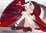 1girl animal_ear_fluff animal_ears bangs barcode_tattoo barefoot black_footwear blood breasts commentary_request fox_ears fox_tail full_body head_tilt high_heels horns katana knees_up looking_at_viewer multicolored_hair nagishiro_mito oni_horns oriental_umbrella original platform_footwear red_eyes red_hair shoes short_hair sidelocks simple_background single_shoe sitting slit_pupils solo streaked_hair sword tail tattoo two-tone_hair umbrella weapon white_hair