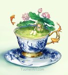 1girl bangs bathing blunt_bangs closed_eyes commentary cup english_commentary flower flying_fish green_hair green_tea in_container in_cup koi lily_pad long_hair lotus minigirl original partially_submerged porcelain saucer solo tea teacup watermark web_address wenqing_yan white_background