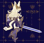 1girl absurdres animal_ears ankle_wings armor armored_dress blue_armor blue_background blue_eyes colored_eyelashes fantasy flat_color full_body furry gauntlets gold_trim greaves half-closed_eyes highres long_hair no_humans original rye-beer shield simple_background snout solo sword tail weapon white_fur white_hair