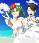 1boy 1girl absurdres admiral_(kantai_collection) bandaid bandaid_on_face beach bead_necklace beads black_hair blue_sky carrying cloud dress flower formal gloves green_hair grin hair_flower hair_ornament highres jewelry kantai_collection necklace necktie ocean open_mouth princess_carry roru_(lol_dessin) shore sky smile strapless strapless_dress suit suke_(singekijyosei) tuxedo twintails v wedding_dress white_dress white_gloves white_neckwear white_suit zuikaku_(kantai_collection)