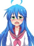 1girl ahoge arms_at_sides bangs blue_hair blurry blush chestnut_mouth collarbone commentary crying crying_with_eyes_open eyebrows_visible_through_hair green_eyes hair_between_eyes half-closed_eyes highres hinghoi izumi_konata kyoto_animation long_hair long_sleeves looking_at_viewer lucky_star mole mole_under_eye neckerchief open_mouth parted_bangs pink_neckwear raised_eyebrows red_sailor_collar sad sailor_collar school_uniform serafuku shiny shiny_hair shirt sidelocks simple_background tears upper_body very_long_hair white_background white_shirt