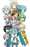 2boys 6+girls :3 :< :d akita_neru animal_on_head camera chibi_miku dog dog_on_head doll drill_hair dual_wielding everyone fl-chan fl_studio hamo_(dog) handheld_game_console hatsune_miku heterochromia kagamine_len kagamine_rin kaito kasane_teto kiyone_suzu megurine_luka meiko minami_(colorful_palette) multiple_boys multiple_girls open_mouth playstation_portable smile spring_onion twin_drills twintails utau vocaloid voyakiloid yokune_ruko yowane_haku |_|