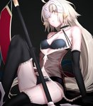 1girl bare_shoulders black_background black_bra black_gloves black_legwear black_panties blonde_hair bra breasts choker cleavage cosplay elbow_gloves fate/grand_order fate_(series) flag gloves heart i-pan jeanne_d'arc_(alter)_(fate) jeanne_d'arc_(fate)_(all) jeanne_d'arc_alter_santa_lily jeanne_d'arc_alter_santa_lily_(cosplay) lingerie long_hair looking_at_viewer pale_skin panties see-through simple_background sitting small_breasts solo thighhighs underwear very_long_hair yellow_eyes