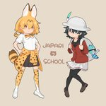 2girls :3 adapted_costume animal_ears backpack bag black_hair blonde_hair blue_eyes blush bow bowtie clothes_around_waist collared_shirt commentary_request eyebrows_visible_through_hair hands_on_hips highres holding_strap kaban_(kemono_friends) kemono_friends loafers long_sleeves lucky_beast_(kemono_friends) multicolored_hair multiple_girls pantyhose pleated_skirt print_legwear print_neckwear sailor_collar school_uniform serval_(kemono_friends) serval_ears serval_print serval_tail shirt shoes short_hair short_sleeves skirt sweater sweater_around_waist tail thighhighs tuttucom yellow_eyes zettai_ryouiki